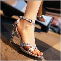 Silver Italian Stiletto Bridal Low High Heel Rhinestone Spike Strappy Sandals  image 1