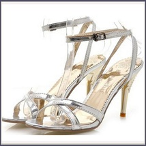 Silver Italian Stiletto Bridal Low High Heel Rhinestone Spike Strappy Sandals  image 2