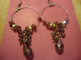 GORGEOUS CHAMPAGNE HOOP EARRINGS             WE COMBINE SHIPPING - $3.99