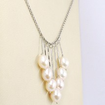 COLLIER OR BLANC 750 18K, TOMBANT, FRANGES, PERLES PÊCHE OVALES, CHAÎNE ROLO image 2