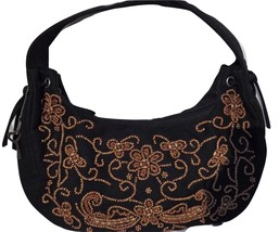 Forever by Fossil Beaded Canvas Shoulder Bag Black with Key Fob - $27.09