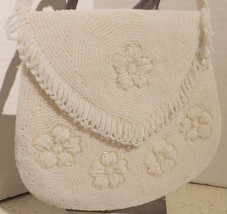Vintage White Beaded Bag Seed Pearls Fringe Wedding Bride Evening - $21.29
