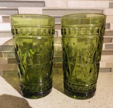 (2) Avocado Olive Green Pressed Glass Flat Tumblers Water Thumbprint Vin... - $23.22