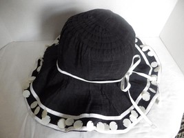 Scala Callanan Ribbon PAILLETTES Pool Hat Beach Cruise Sun Black & White - $36.39 CAD