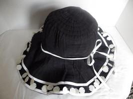 Scala Callanan Ribbon PAILLETTES Pool Hat Beach Cruise Sun Black & White - $37.25 CAD