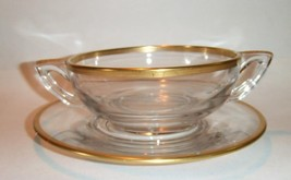 Handled Cream Soup Bowl Plate Clear Gold Band Art Deco - $27.09