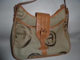 "Etienne Aigner Handbag Brown Purse Signature ""A"" Fabric Saddlebag Satchel - $23.22"