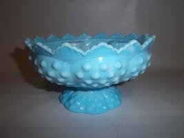 Vintage FENTON Blue Slag Hobnail Candle Holder Vase Centerpiece - $27.09