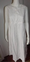 White 100% Cotton Gilligan O'Malley Gown Embroidered Pintucks Empire Waist MED - $27.09