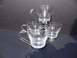 (4) Bormiloli Rocco Verdi Tempered Glass espresso Cup Metal Base & Handl... - $14.50