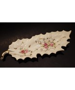 Vintage Pink Roses Hand Painted Leaf Pin Nut Dish Arnart Double Blue Arrow - $21.29