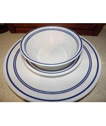 Corelle Place Setting White Stripes Dinner Plate Salad Cereal Bowl Cafe ... - $27.09