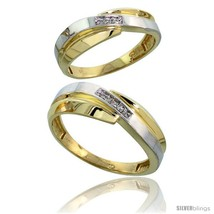 An item in the Jewelry & Watches category: Size 7.5 - 10k Yellow Gold Diamond 2 Piece Wedding Ring Set His 7mm & Hers 6mm