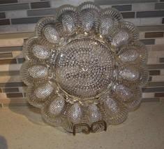 Vintage Indiana Glass Deviled Egg Relish Plate Elegant Hobnail Clear - $27.09