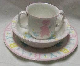 Sango Little Girl Pink Gear Kids Alphabet Place Setting Bowl  Plate & Mug - $29.03