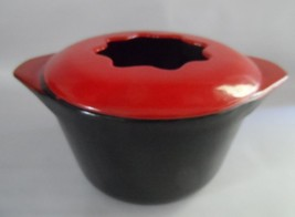 Heavy Red Enameled Cast Iron Covered Fondue Pot - $42.57