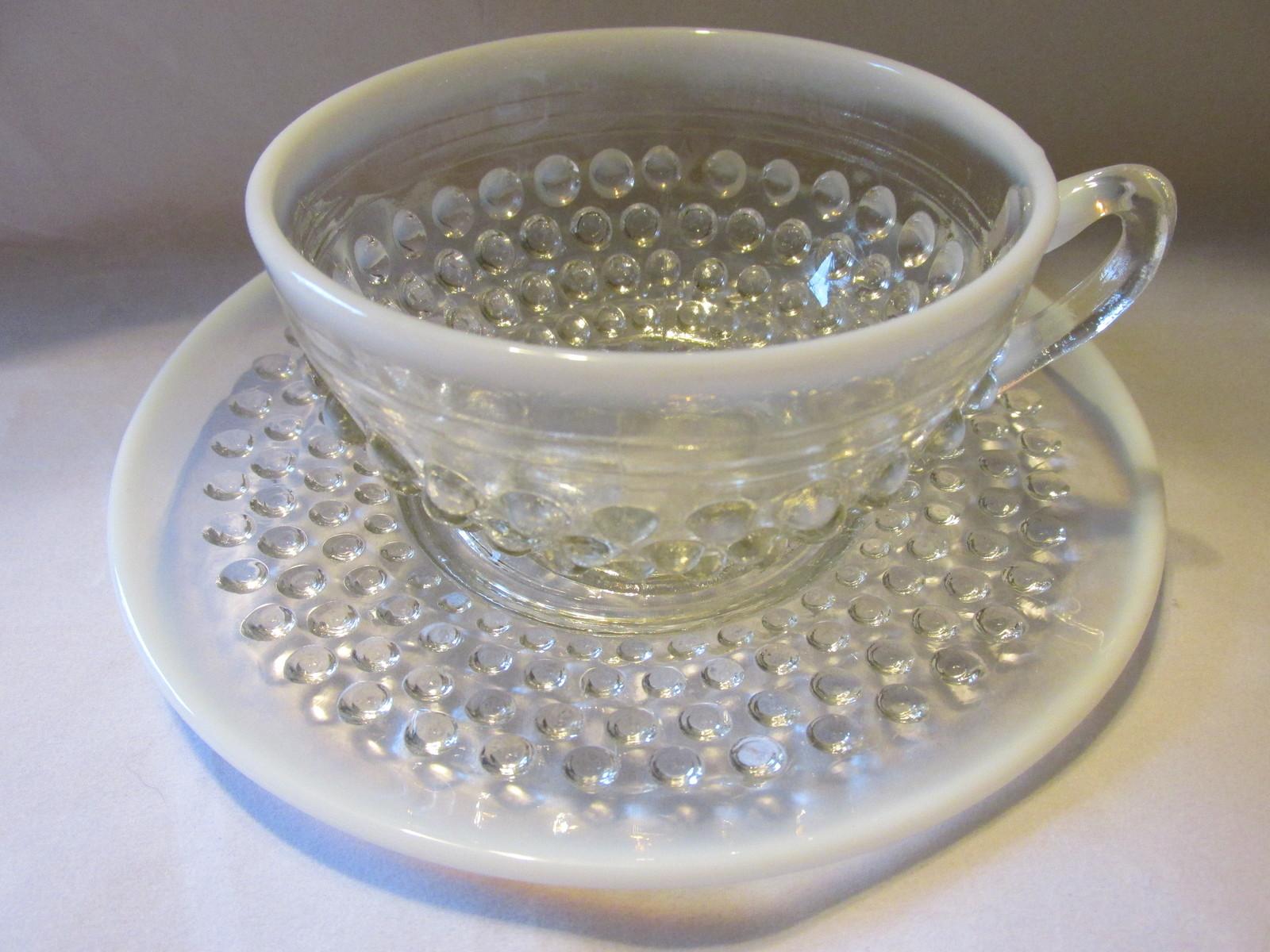Vintage Moonstone Opalescent Hobnail Cup & Saucer - Anchor Hocking, 1941-1946