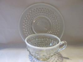 Vintage Moonstone Opalescent Hobnail Cup & Saucer - Anchor Hocking, 1941-1946 image 2