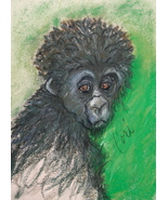 Monkey Wildlife Art Pastel Drawing Solomon - $85.00