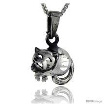Sterling Silver Cat Pendant, 3/4 in tall -Style  - $36.46