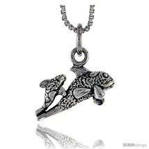 Sterling Silver Mother & Baby Fish Pendant, 3/8 in  - $43.60