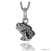 Sterling Silver Bass Fish Pendant, 3/8in   - $37.49