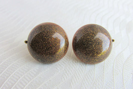 Vintage Crown Trifari Earrings Golden Glittery Brown Lucite Buttons Clip... - $16.20