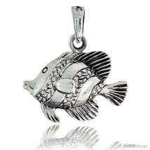 Sterling silver fish pendant 78 in wide thumb200
