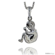Sterling Silver Baby Fetus Pendant, 1/2 in  - $37.49