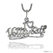Sterling Silver I Love Volleyball Talking Pendant, 1 1/16 in  - $43.79