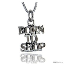 Sterling Silver Born to Shop Talking Pendant, 1 in  - $43.79
