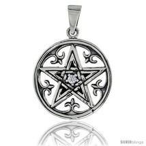 Sterling Silver Celtic Pentagram Pendant w/ Single Clear CZ, w/ 18in  Thin Box  - $56.99