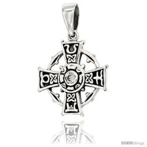 Sterling Silver Celtic Cross Pendant w/ Single Black CZ, w/ 18in  Thin Box Chain - $33.63