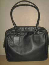 KENNETH COLE BLACK LEATHER BRIEFCASE ZIP TOP SH... - $20.00