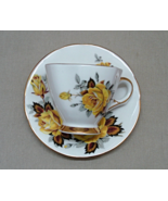 Vintage ROYAL WINDSOR Bone China Yellow Rose Pattern Tea Cup with Saucer - $12.00