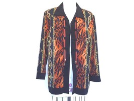 MAGGIE SWEET Open Front Chains Animal Print Blouse Jacket Size Petite L  - $19.79