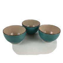3 Royal Norfolk Teal Turquoise Soup Cereal Bowls Swirl Stoneware - $15.88