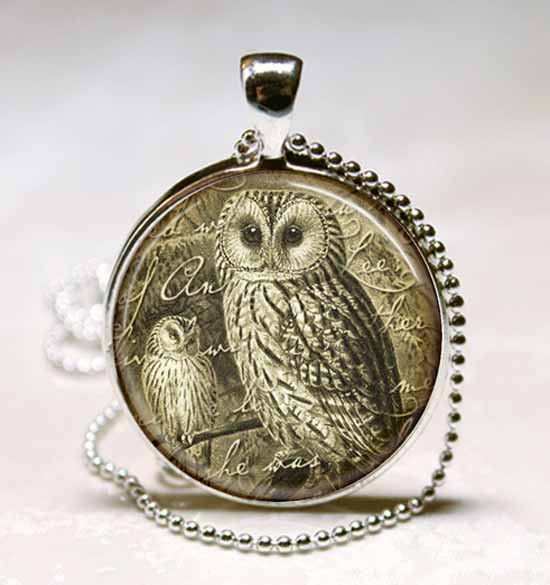 Vintage Style Owl Glass Dome Jewelry Necklace Pendant