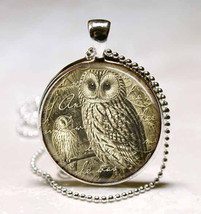 Vintage Style Owl Glass Dome Jewelry Necklace Pendant image 1