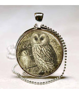 Vintage Style Owl Glass Dome Jewelry Necklace Pendant - $10.99