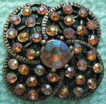 VINTAGE Filigree 20mm Gold Amber Rhinestone Button - $14.99