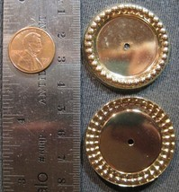 VINTAGE GOLD PLATED - 36mm - Inside 25mm Fancy Bead Edge Round Bezel - 2... - $8.99
