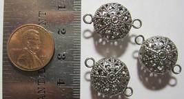 VINTAGE NICKEL PLATED - 15mm Round Filigree Filagree Bead w/ End Holes 6... - $14.99