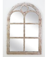 COTTAGE DISTRESSED SILVER FINISH WOOD ARCH  TOP WINDOW PANE MIRROR,36''H. - $420.75