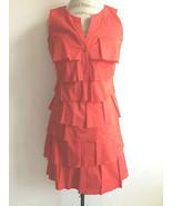 Ann Taylor LOFT Fire Engine Red Sleeveless Stepped Ruffle Dress size 4 - $24.99
