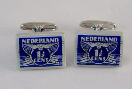 Men's Fashion Jewelry Cufflinks ~ Silver Tone Nederland Postage Stamp ~ #5350070 - $9.75