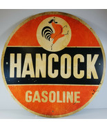 "HANCOCK GASOLINE ROOSTER STRUTTING CROWS ORANGE BACKGROUND 28"" ROUND MET... - $179.96"