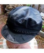 Vintage Aegean Greek Fishermans Cap Hat Greece 59 7 3/8 Black Military S... - $15.56