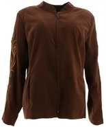 Bob Mackie Faux Suede Jacket Rhinestone Embroidery Brown M NEW A298765 - $49.48