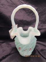 Fenton Glass 1994 Opaline Satin Open Heart Arches Spiral Optic Basket Sweet Pea - $65.00